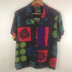 JAMS WORLD VINTAGE Botanical Hawaiian Shirt Black